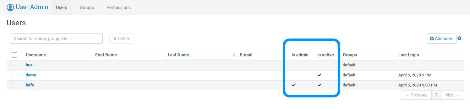 Admin user statuses