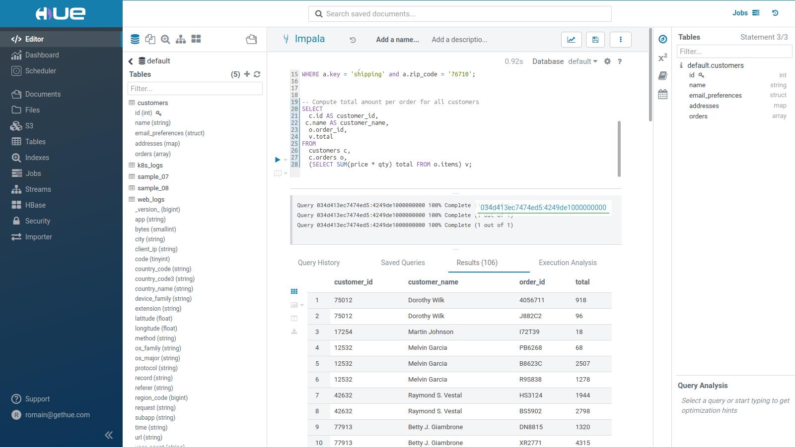 Hue Impala SQL Editor